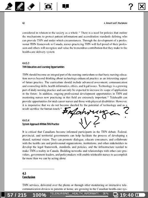 Der PB 912 unterstützt handschriftliche Anmerkungen im Text