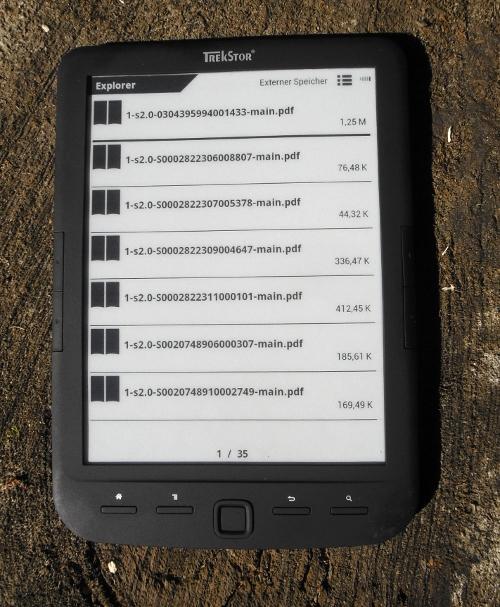 Mit dem Explorer lassen sich E-Books in von NutzerInnen benannten Verzeichnissen schnell ansteuern