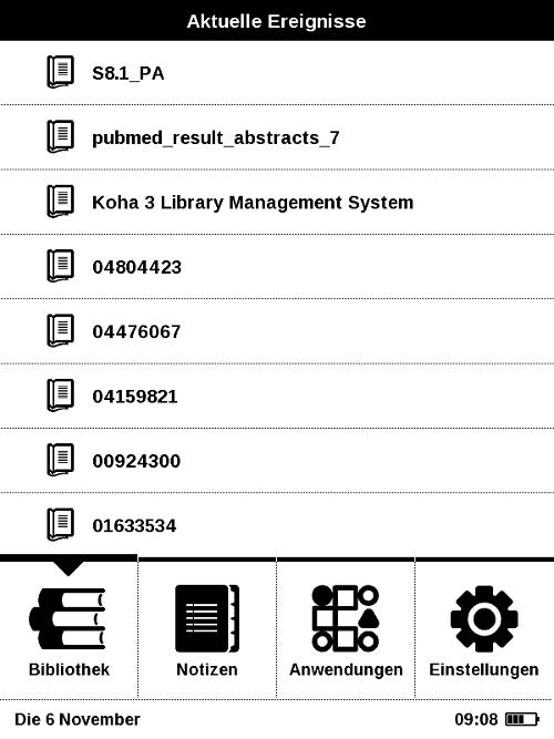 PocketBook Basic New (PocketBook 613) mit übersichtlichem Hauptmenu
