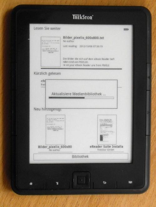 Mit jedem Einschalten aktualisiert der Pyrus seine Bibliothek. Das kann bei vielen Dateien etwas dauern.