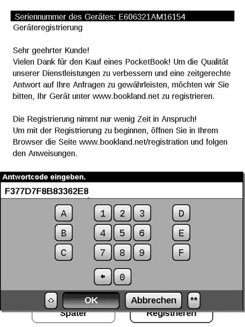 PB 611: Registrierungsdialog