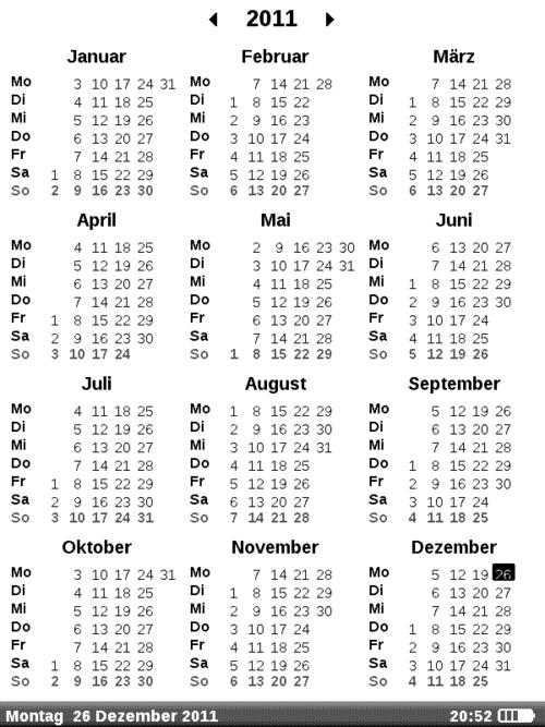 PB 611: Kalender